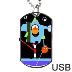Abstract Composition  Dog Tag Usb Flash (two Sides)  by Valentinaart