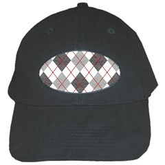 Fabric Texture Argyle Design Grey Black Cap