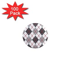 Fabric Texture Argyle Design Grey 1  Mini Magnets (100 Pack)  by AnjaniArt