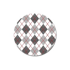 Fabric Texture Argyle Design Grey Magnet 3  (round) by AnjaniArt