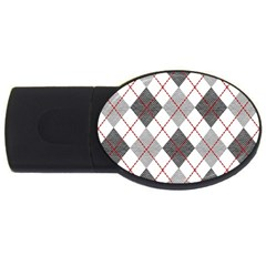 Fabric Texture Argyle Design Grey Usb Flash Drive Oval (2 Gb)