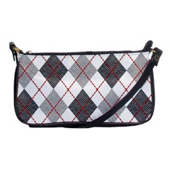Fabric Texture Argyle Design Grey Shoulder Clutch Bags by AnjaniArt