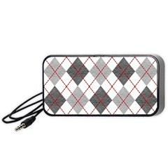 Fabric Texture Argyle Design Grey Portable Speaker (black)