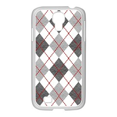 Fabric Texture Argyle Design Grey Samsung Galaxy S4 I9500/ I9505 Case (white) by AnjaniArt