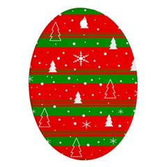 Xmas Pattern Ornament (oval)  by Valentinaart