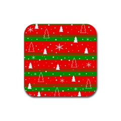 Xmas Pattern Rubber Square Coaster (4 Pack)  by Valentinaart