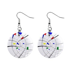 Swirl Grid With Colors Red Blue Green Yellow Spiral Mini Button Earrings by designworld65
