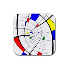 Swirl Grid With Colors Red Blue Green Yellow Spiral Rubber Square Coaster (4 Pack)  by designworld65