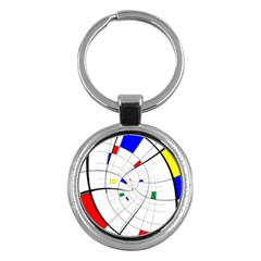Swirl Grid With Colors Red Blue Green Yellow Spiral Key Chains (round)  by designworld65