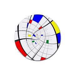 Swirl Grid With Colors Red Blue Green Yellow Spiral Rubber Round Coaster (4 Pack)  by designworld65