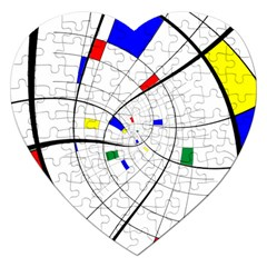 Swirl Grid With Colors Red Blue Green Yellow Spiral Jigsaw Puzzle (heart) by designworld65