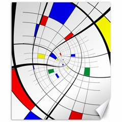Swirl Grid With Colors Red Blue Green Yellow Spiral Canvas 8  X 10  by designworld65