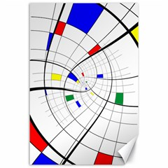 Swirl Grid With Colors Red Blue Green Yellow Spiral Canvas 24  X 36  by designworld65