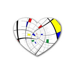 Swirl Grid With Colors Red Blue Green Yellow Spiral Heart Coaster (4 Pack)  by designworld65