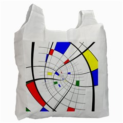 Swirl Grid With Colors Red Blue Green Yellow Spiral Recycle Bag (one Side) by designworld65