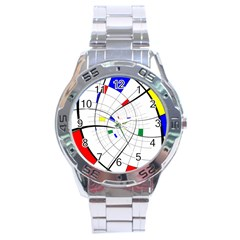Swirl Grid With Colors Red Blue Green Yellow Spiral Stainless Steel Analogue Watch by designworld65