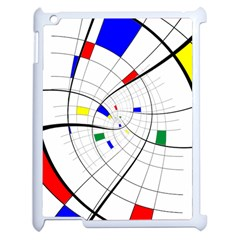 Swirl Grid With Colors Red Blue Green Yellow Spiral Apple Ipad 2 Case (white) by designworld65