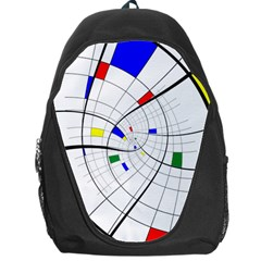 Swirl Grid With Colors Red Blue Green Yellow Spiral Backpack Bag by designworld65
