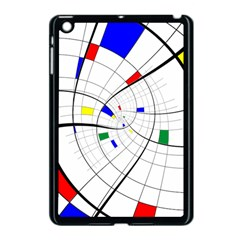 Swirl Grid With Colors Red Blue Green Yellow Spiral Apple Ipad Mini Case (black) by designworld65