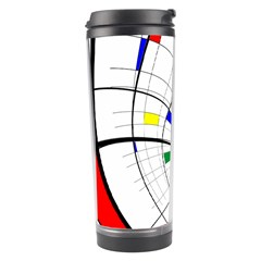 Swirl Grid With Colors Red Blue Green Yellow Spiral Travel Tumbler by designworld65