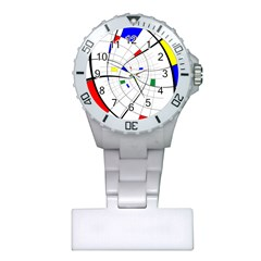 Swirl Grid With Colors Red Blue Green Yellow Spiral Plastic Nurses Watch by designworld65