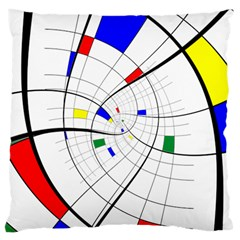 Swirl Grid With Colors Red Blue Green Yellow Spiral Standard Flano Cushion Case (two Sides) by designworld65