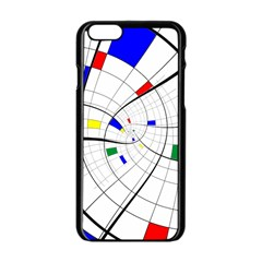 Swirl Grid With Colors Red Blue Green Yellow Spiral Apple Iphone 6/6s Black Enamel Case by designworld65