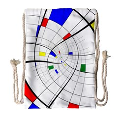 Swirl Grid With Colors Red Blue Green Yellow Spiral Drawstring Bag (large) by designworld65