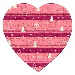 Pink Xmas Jigsaw Puzzle (heart) by Valentinaart