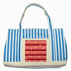 Pink Xmas Striped Blue Tote Bag by Valentinaart