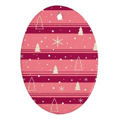 Pink Xmas Oval Ornament (two Sides) by Valentinaart