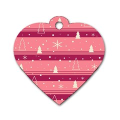 Pink Xmas Dog Tag Heart (two Sides) by Valentinaart