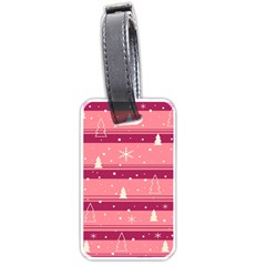 Pink Xmas Luggage Tags (one Side)  by Valentinaart
