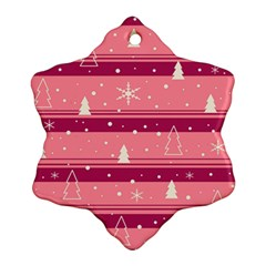 Pink Xmas Snowflake Ornament (2 Side) by Valentinaart