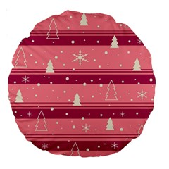 Pink Xmas Large 18  Premium Round Cushions by Valentinaart