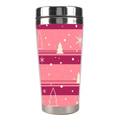 Pink Xmas Stainless Steel Travel Tumblers by Valentinaart