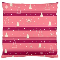 Pink Xmas Large Flano Cushion Case (one Side) by Valentinaart