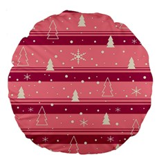 Pink Xmas Large 18  Premium Flano Round Cushions by Valentinaart