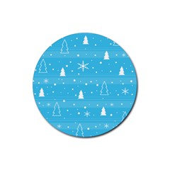 Blue Xmas Rubber Round Coaster (4 Pack)  by Valentinaart