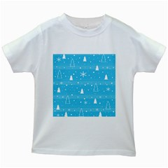 Blue Xmas Kids White T Shirts by Valentinaart