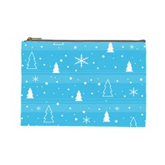 Blue Xmas Cosmetic Bag (large)  by Valentinaart