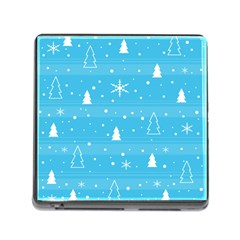 Blue Xmas Memory Card Reader (square) by Valentinaart