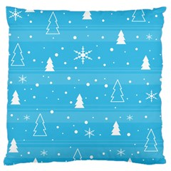 Blue Xmas Large Cushion Case (one Side) by Valentinaart