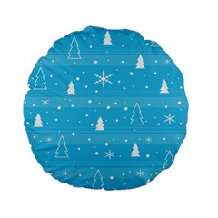 Blue Xmas Standard 15  Premium Flano Round Cushions by Valentinaart