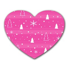 Magenta Xmas Heart Mousepads by Valentinaart