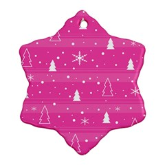 Magenta Xmas Snowflake Ornament (2 Side) by Valentinaart