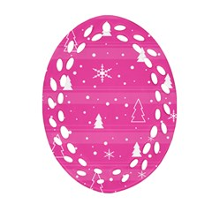 Magenta Xmas Ornament (oval Filigree)  by Valentinaart