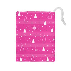 Magenta Xmas Drawstring Pouches (large)  by Valentinaart