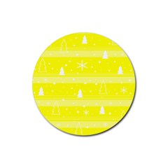 Yellow Xmas Rubber Coaster (round)  by Valentinaart
