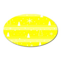 Yellow Xmas Oval Magnet by Valentinaart